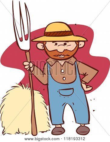 Vector Illustration Of A Cartoon Farmer Holding A Rak