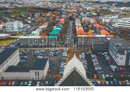 Tilt shift aerial view of Reykjavik