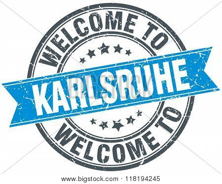 welcome to Karlsruhe blue round vintage stamp