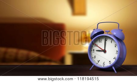 Retro alarm clock closeup, with bedroom in the background.