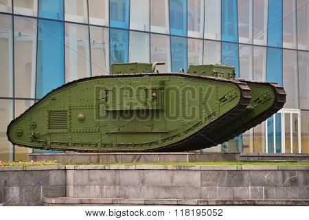 KHARKOV, UKRAINE - JUNE 10, 2014: Tank Mark V exhibited in front of the historical museum. The museum was founded in 1920 and was one of the largest in the Soviet Ukraine