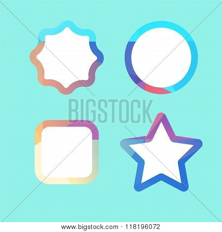 Set of lowpoly badges for attention