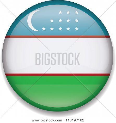 Uzbekistan Button Flag