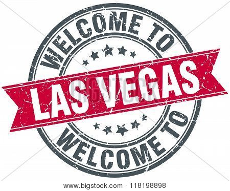 welcome to Las Vegas red round vintage stamp