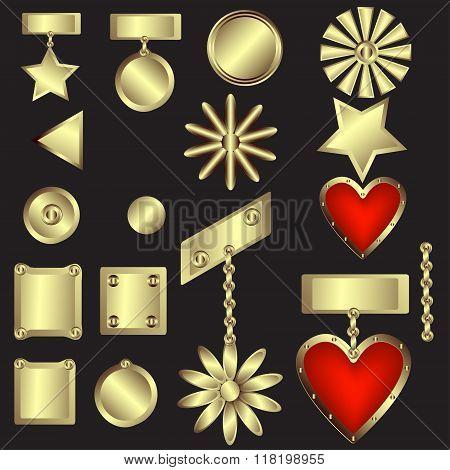 Set Of Decorative Gold Medals