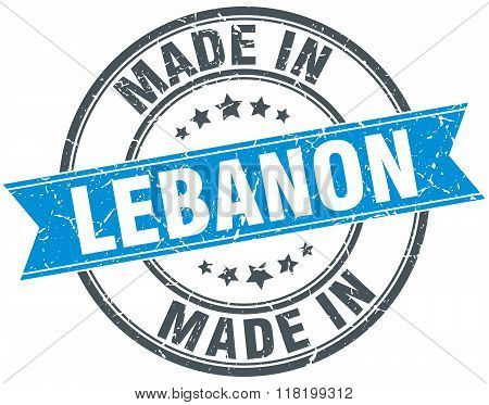 made in Lebanon blue round vintage stamp