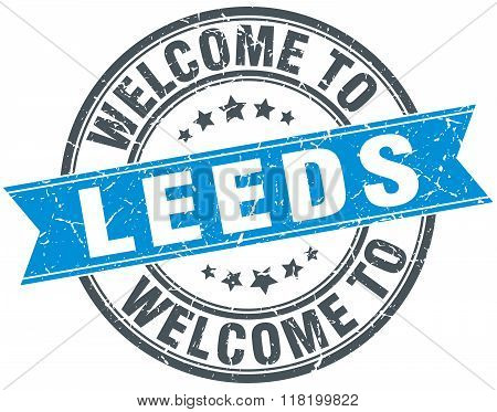 welcome to Leeds blue round vintage stamp