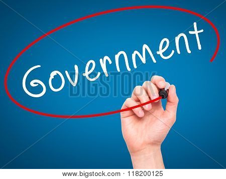 Man Hand Writing Government With Black Marker On Visual Screen