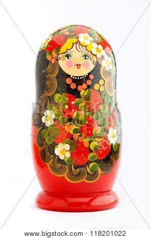 Single traditional russian matryoshka doll on white background