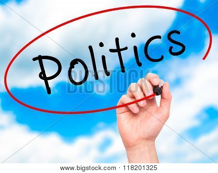 Man Hand Writing Politics With Black Marker On Visual Screen
