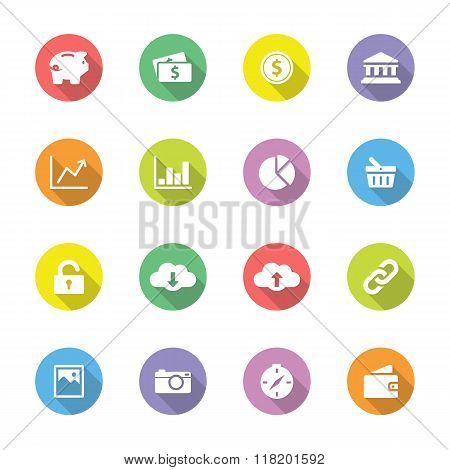 Colorful simple flat icon set 4 on circle with long shadow