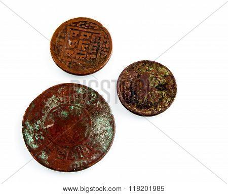 Old Worn Nepalese Coins.