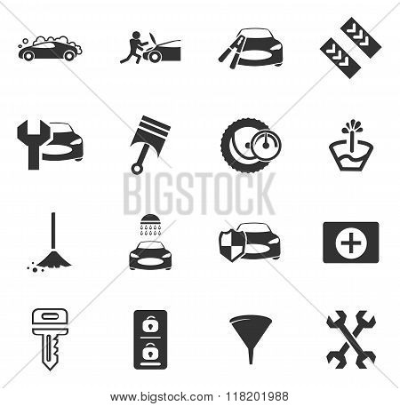 Car shop icons set
