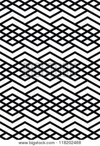 Monochrome geometric art seamless pattern vector mosaic black and white interweave background. Symmetric illusive artificial backdrop.