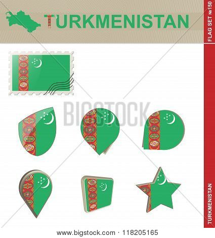 Turkmenistan Flag Set, Flag Set #150
