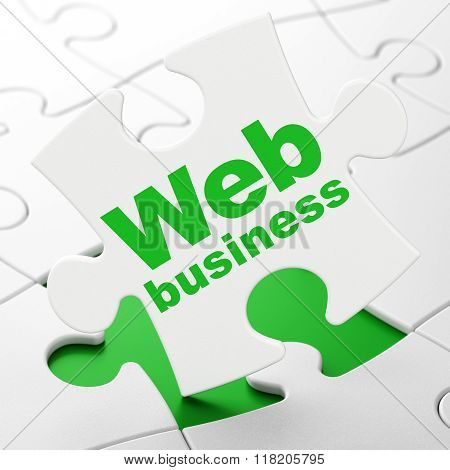 Web development concept: Web Business on puzzle background