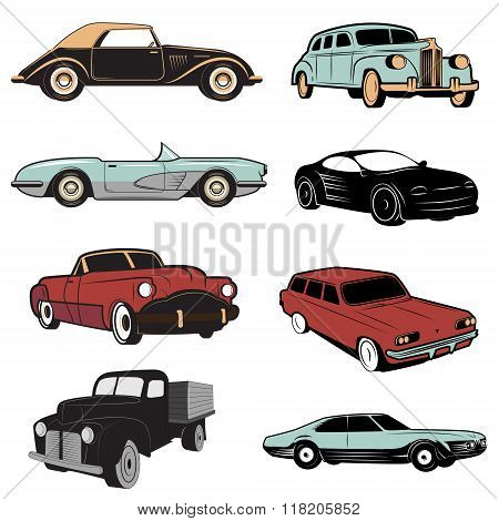 Set Of Retro Cars In Vector.
