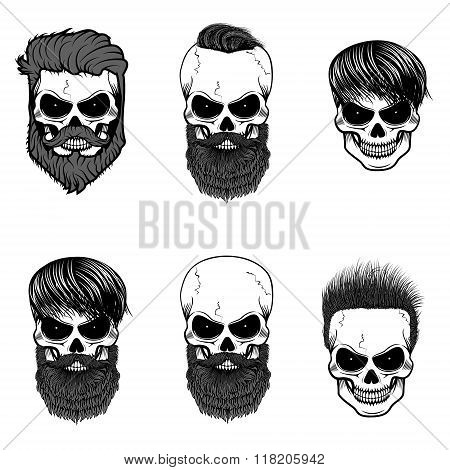 Set Of Bearded Skulls. Skulls With Beard And Hair