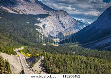 Scenic magnificent canyon on a sunny autumn day. Canyoning excellent highway passes. Canadian Rockies, Banff National Park