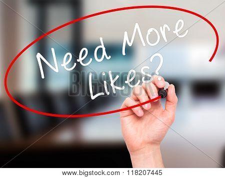 Man Hand Writing Need More Likes? Black Marker On Visual Screen