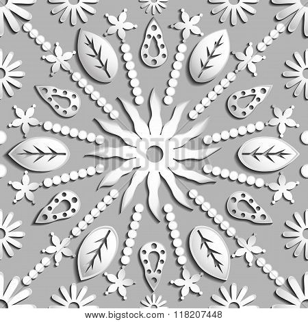 Seamless Abstract Illustration Of Nature. Figure 3D, Leaves, Flowers, Sun, Circles. Color Silver. Ve