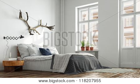 Modern hipster bedroom in Berlin with bed and nightstand (3D Rendering)