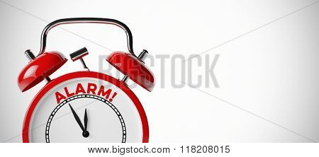 The word alarm on a red vintage alarm clock with copy space (3D Rendering)