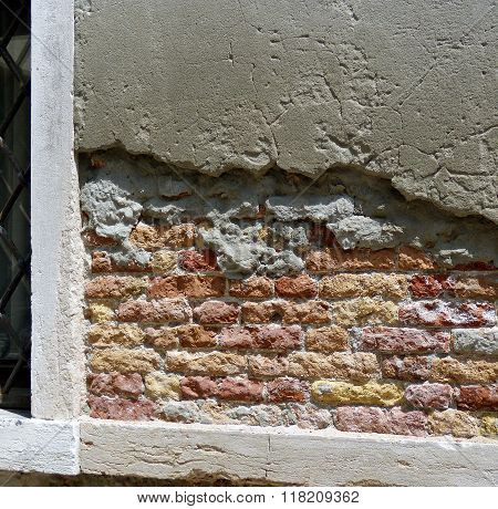 colorful brick and mortar wall segment