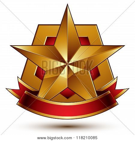 3d golden vector heraldic blazon with red filling and glossy pentagonal star best for web and graphic design. Decorative coat of arms with red wavy ribbon defense symbol.