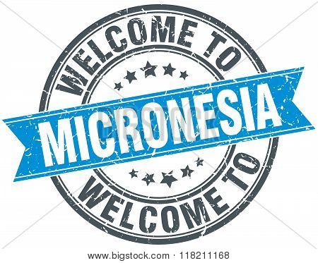 welcome to Micronesia blue round vintage stamp