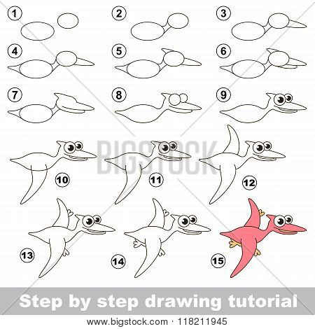 Funny pterodactyl. Drawing tutorial.