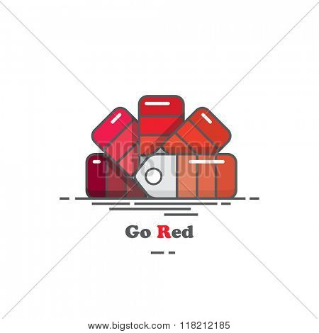 Flat design colour chart in shades of red. EPS10 vector format.