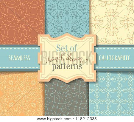 Vector Set Of Hand-drawn Calligraphic Seamless Patterns.