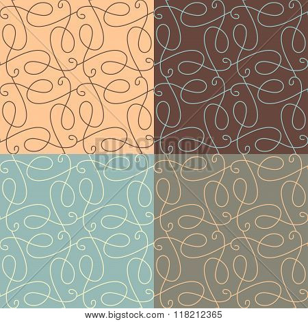 Vector Set Of Linear Calligraphic Seamless Patterns.