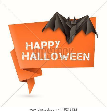 Halloween Speech Bubble With Origami Bat. Vector Illustration, Eps10.