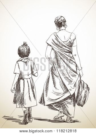 Sketch of walking mother and daughter from school, Hand drawn illustration