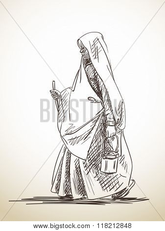 Sketch of walking woman in sari, Hand drawn illustration