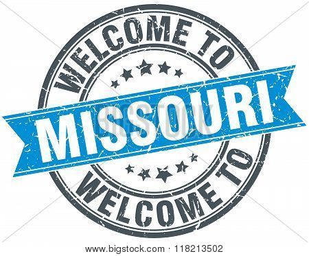 welcome to Missouri blue round vintage stamp