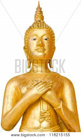 Old And Unclean Golden Standing Buddha In Public In Thai Temple; Buddha Of Friday