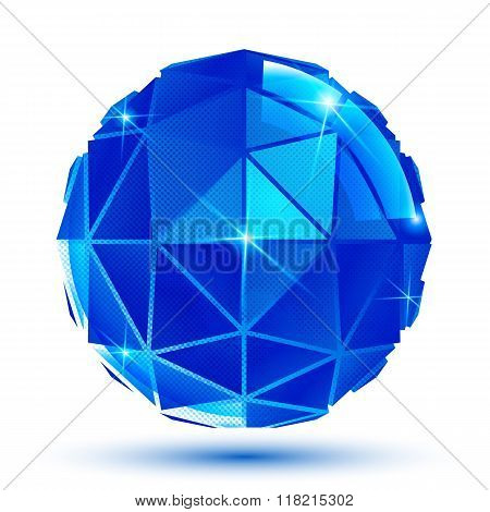 Blue facet radiance 3d spherical object with sparkles isolated on white background.