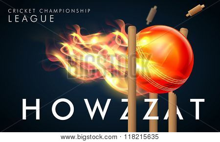 Creative fiery ball hit the wicket stumps with stylish text Howzzat for Cricket Championship League concept.