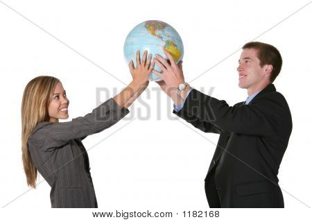 Business Team Holding Globe