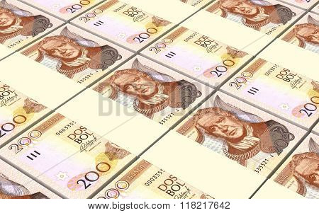 Bolivian boliviano bills stacks background. Computer generated 3D photo rendering