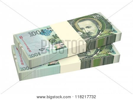 Paraguyan guarani bills isolated on white background. Computer generated 3D photo rendering.