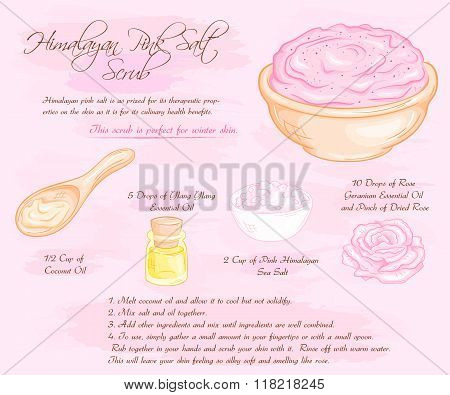 Vector Hand Drawn Illustration Of Hymalayan Pink Rose Salt Scrub Recipe