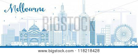 Melbourne Skyline with Blue Buildings. Vector Illustration. Business Travel and Tourism Concept with Modern Buildings. Image for Presentation Banner Placard and Web Site.