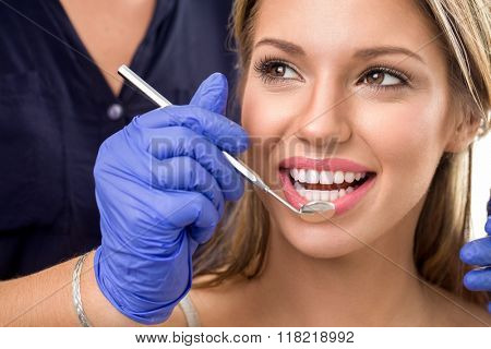 girl visit to the dentist, dental care