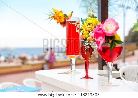 Glasses with cocktails at the resort