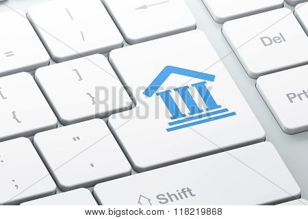 Law concept: Courthouse on computer keyboard background