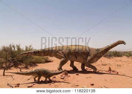 Dinosaur statues in Talampaya National Park